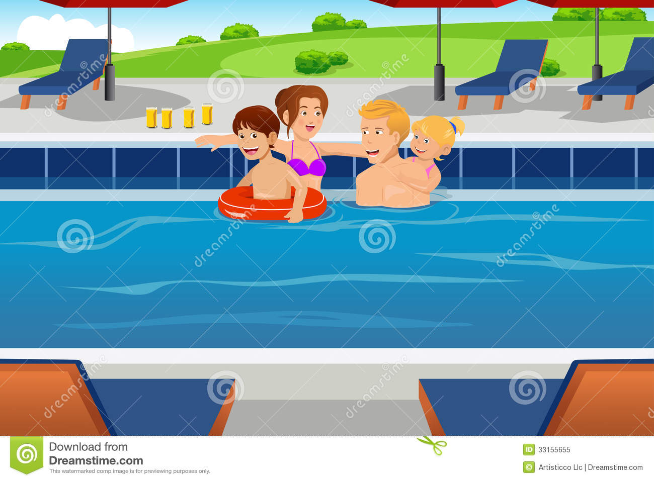 Family having fun in a swimming pool stock vector for Family swimming pool