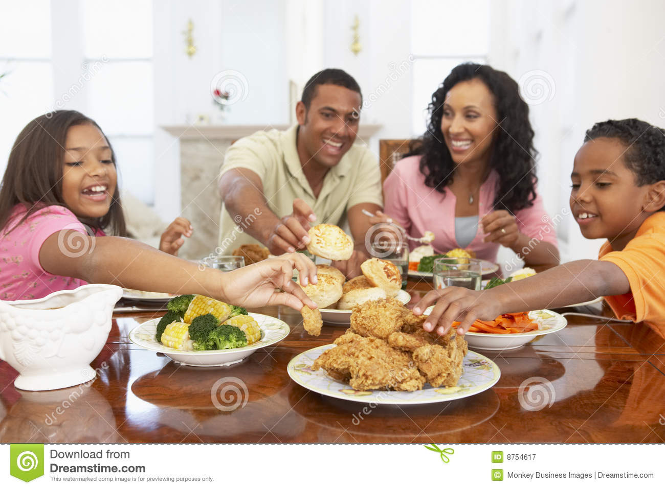 Family Having A Meal At Home