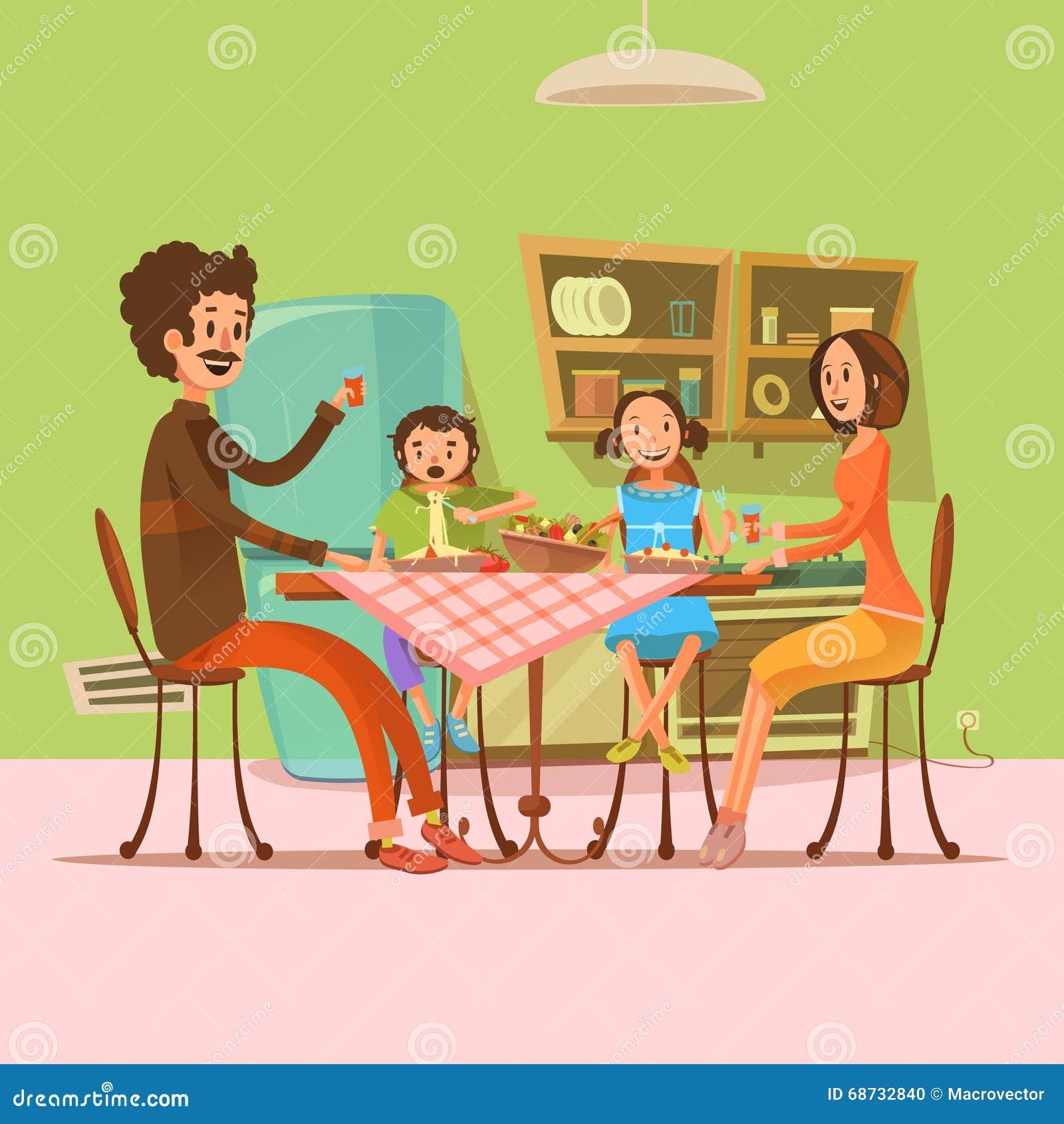 Eating Table Cartoon: Family Having Meal Illustration Stock Vector
