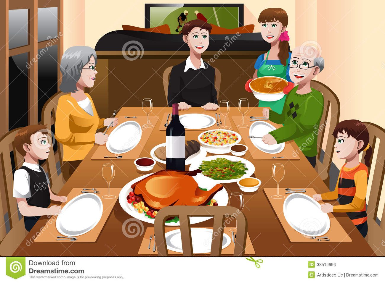 Family having a thanksgiving dinner royalty free stock for Casa art de la table
