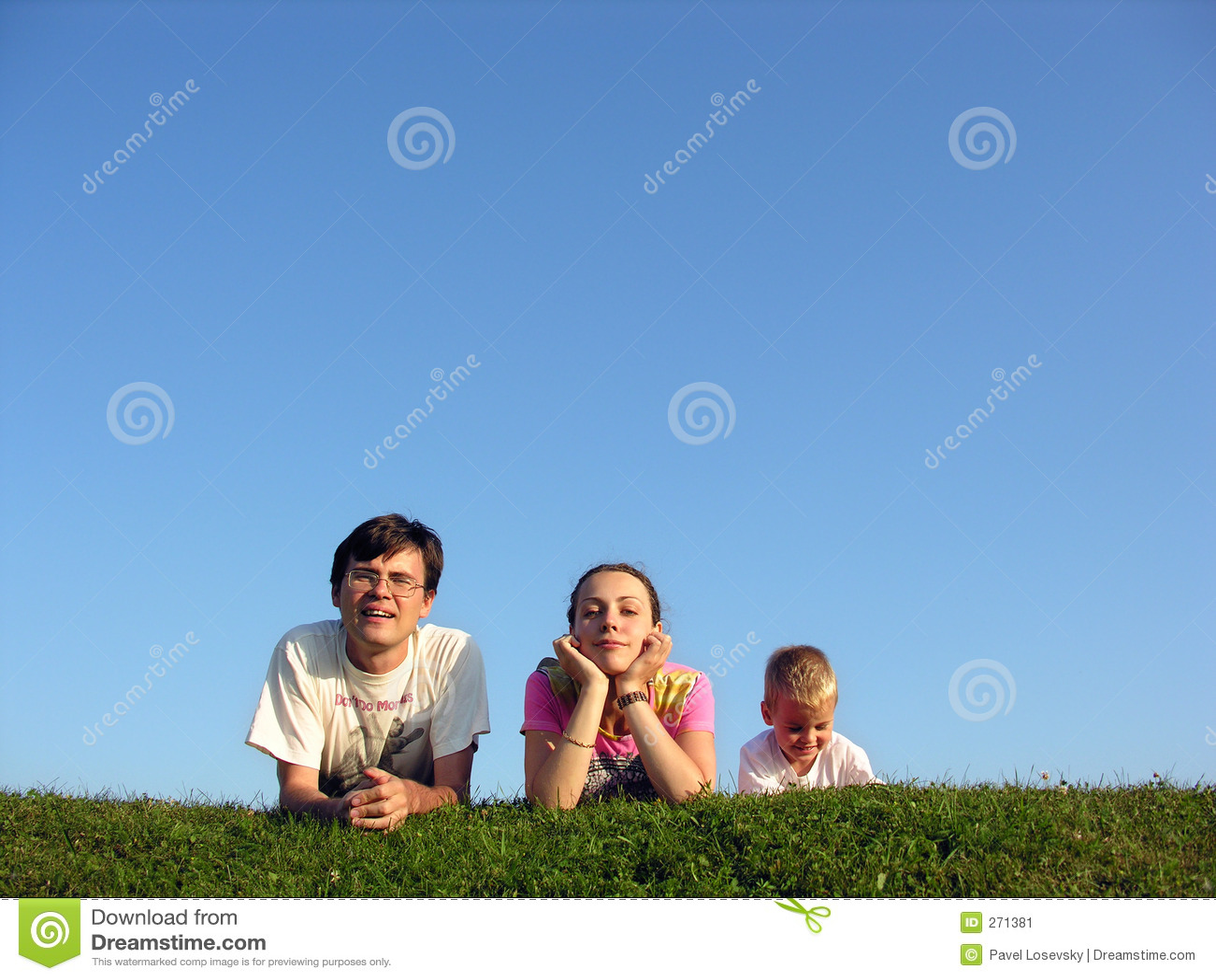 Family on herb under sky 2