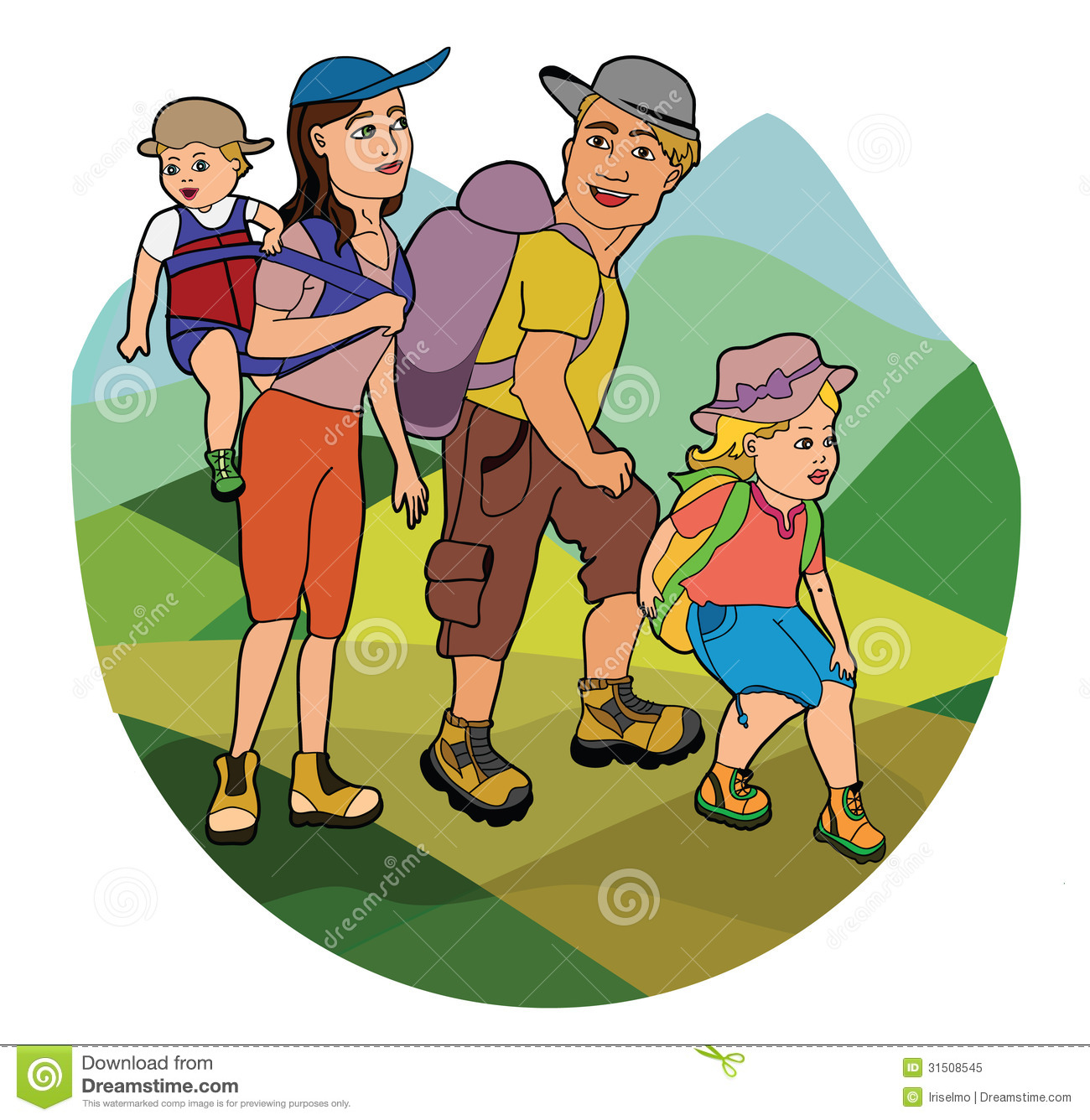 Family On Hike Stock Vector Illustration Of Hiking Leisure