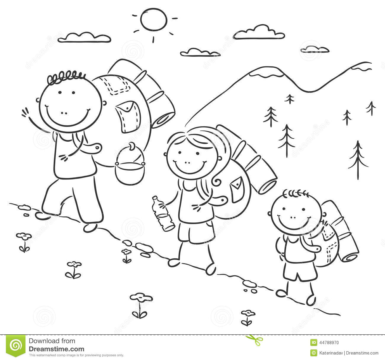 Family Hiking In The Mountains Stock Vector Image 44788970