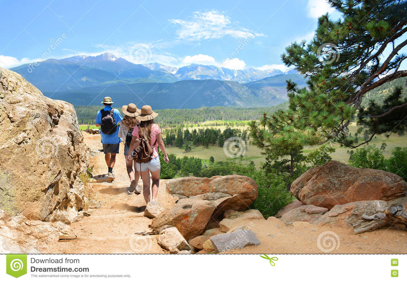 Family On Hiking Trip In Colorado Mountains. Stock Image