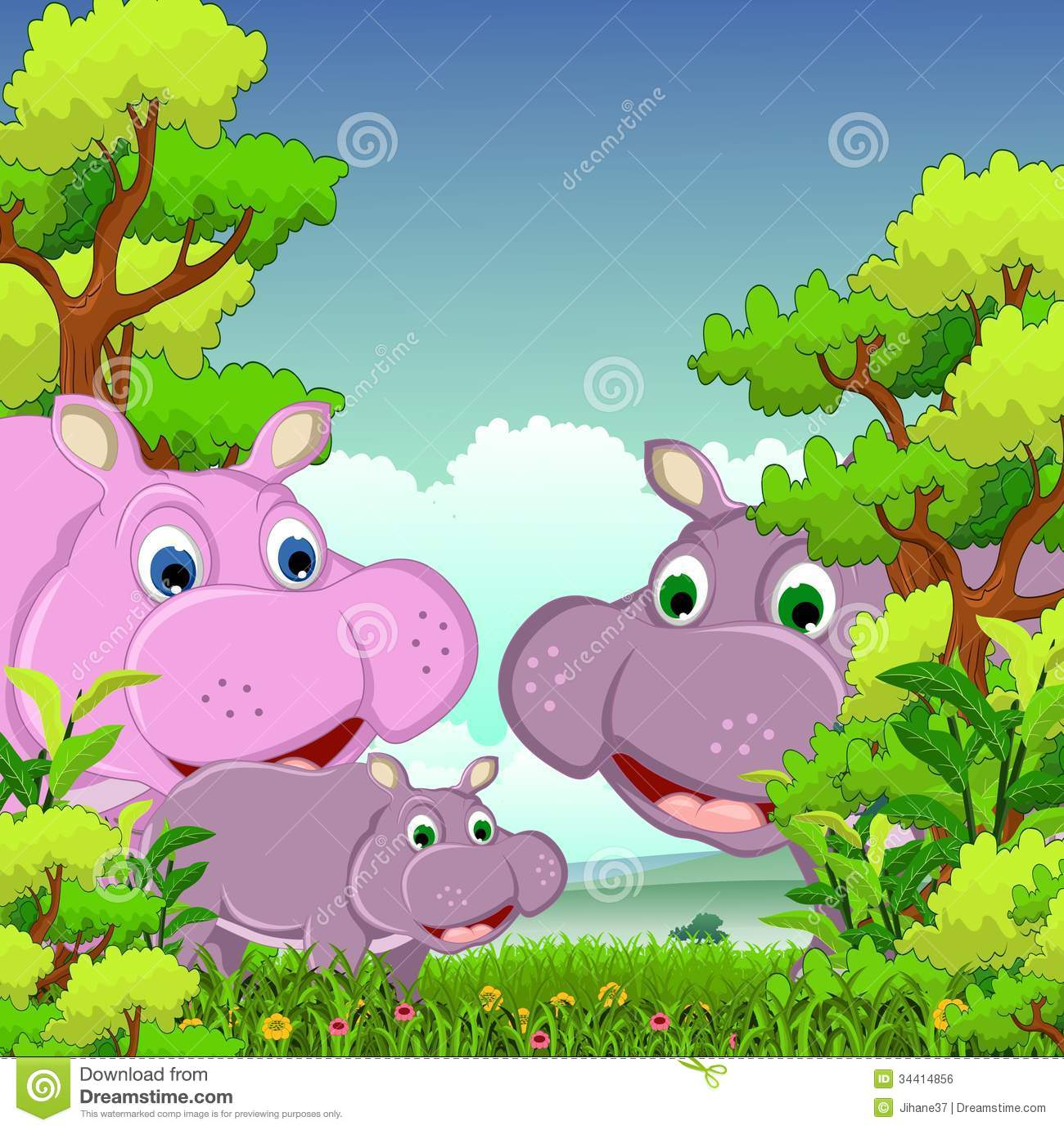 family of hippo cartoon with forest background royalty free stock image