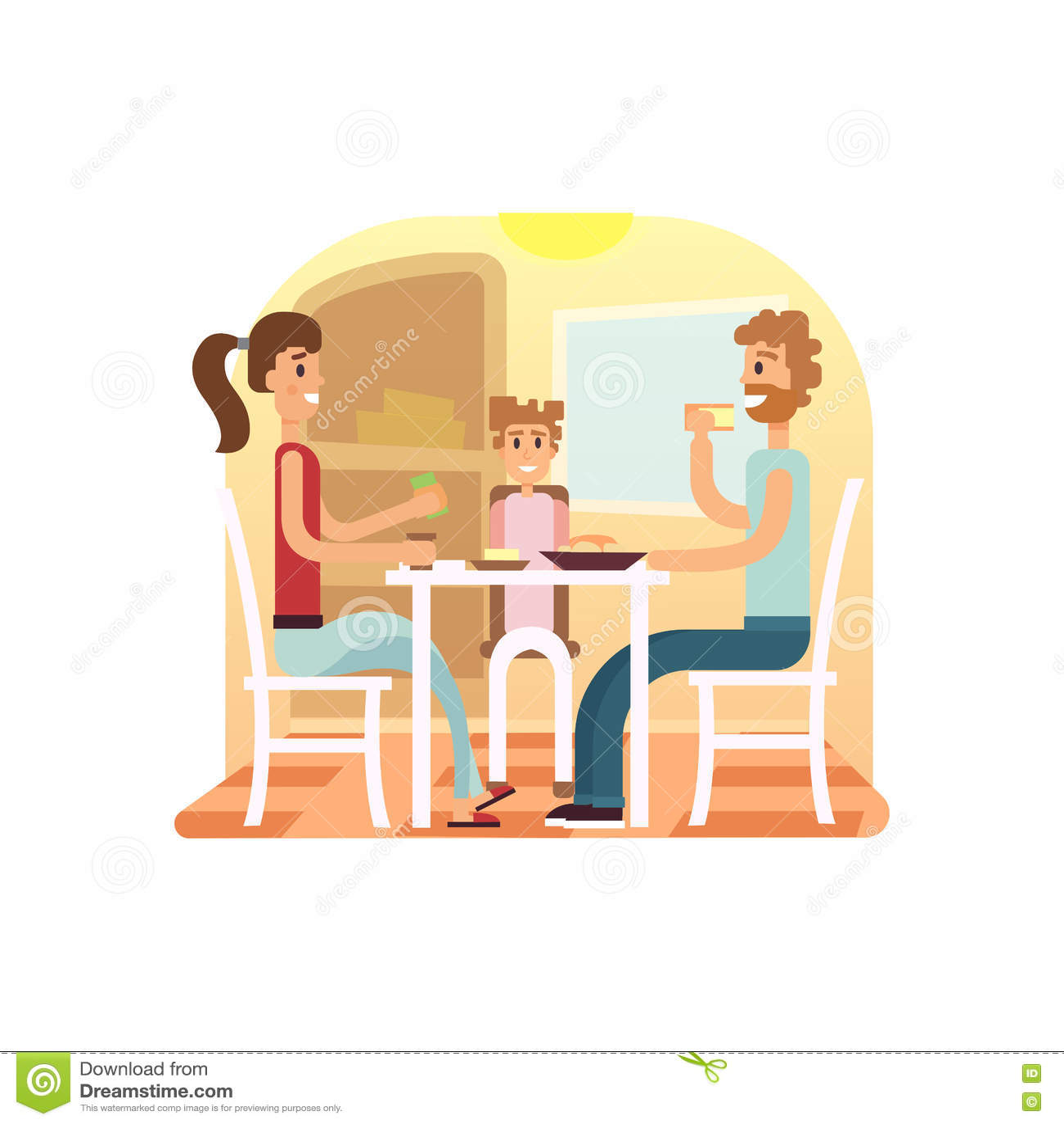 Family Holiday Cartoon Concepts Family Dinner Set Mom Dad Daughter At Dinner Vector Flat Illustration Illustration 78340872 Megapixl