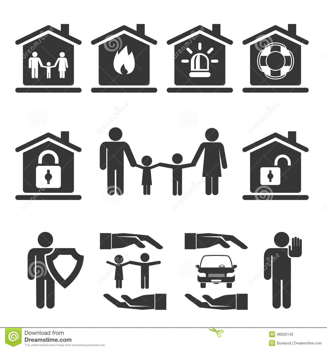 Family Home And Auto Insurance Icon Designs Stock Photo