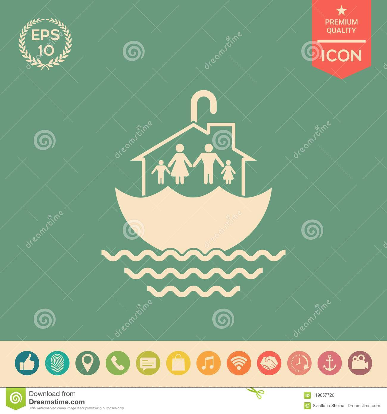 Family Home Security Icon Stock Vector Illustration Of Industry