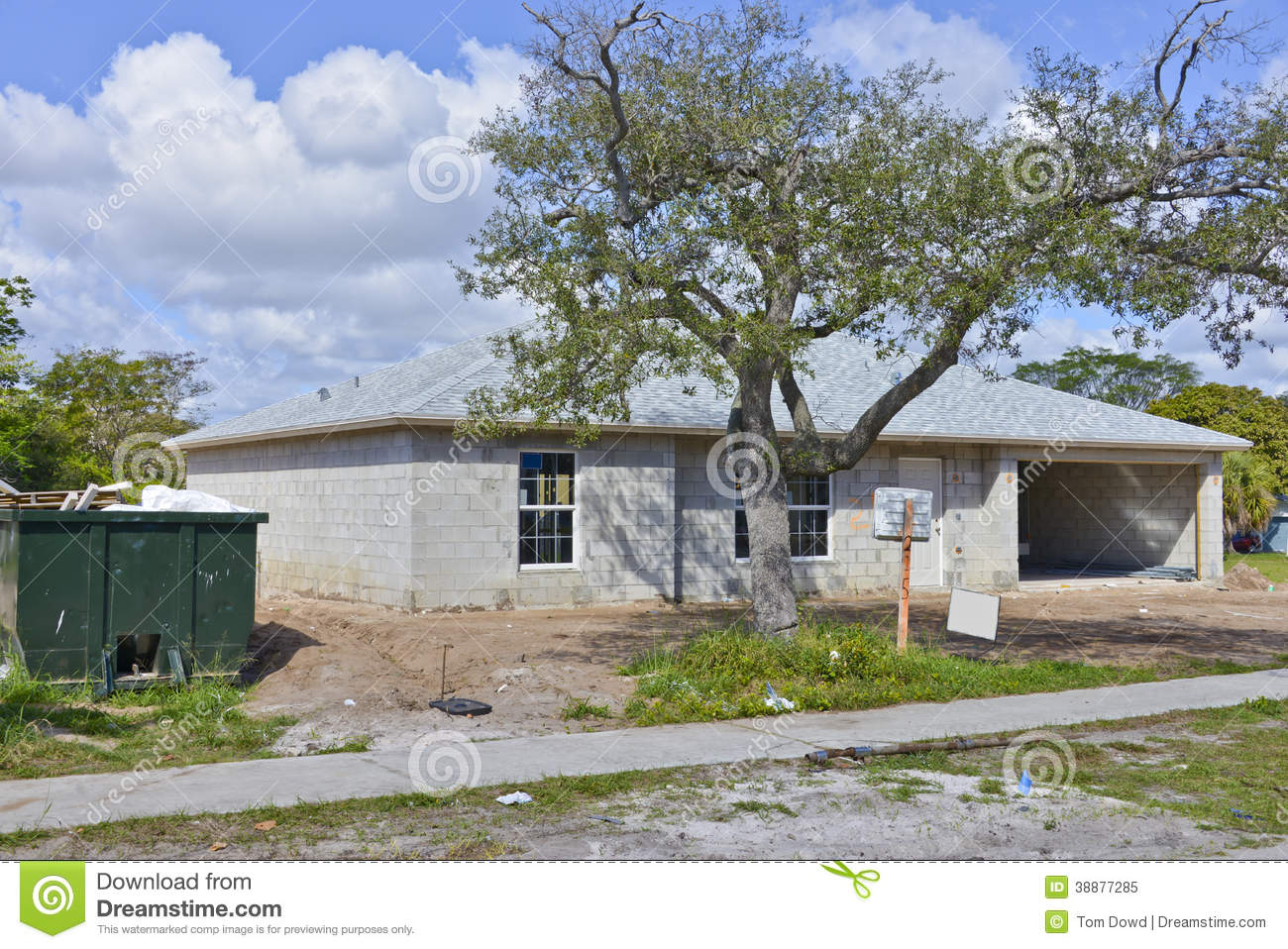Family home under construction stock image image 38877285 for Concrete homes in florida