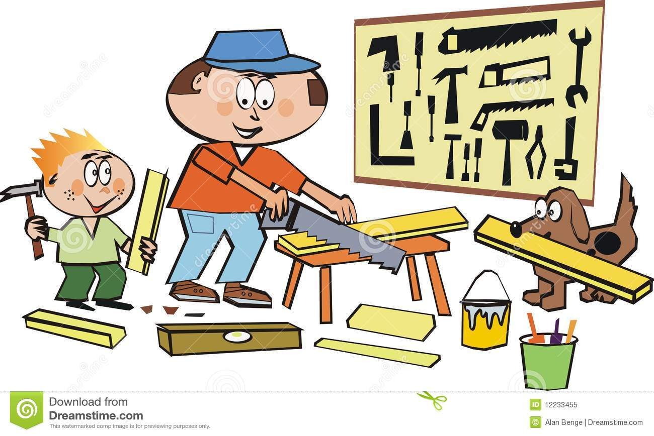 Family Home Workshop Cartoon Stock Vector Illustration Of Family Father 12233455
