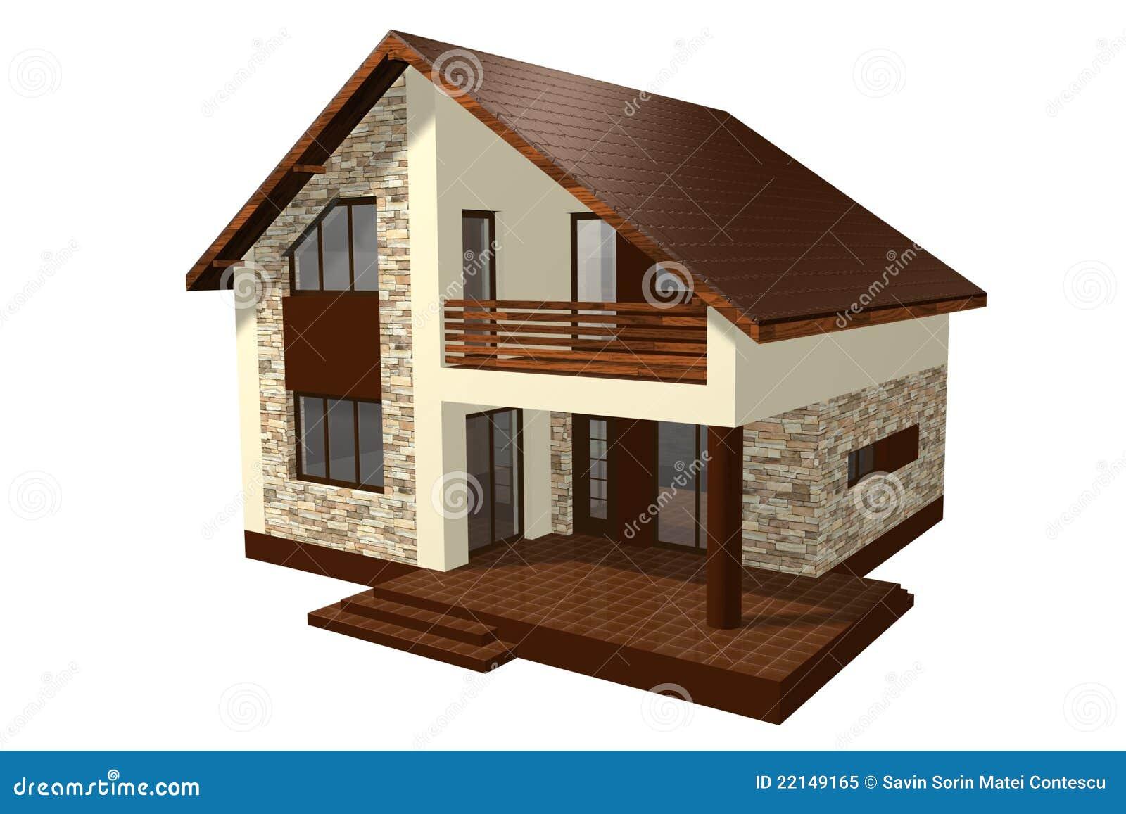 Family House 3d Render Stock Illustration Image Of Estate