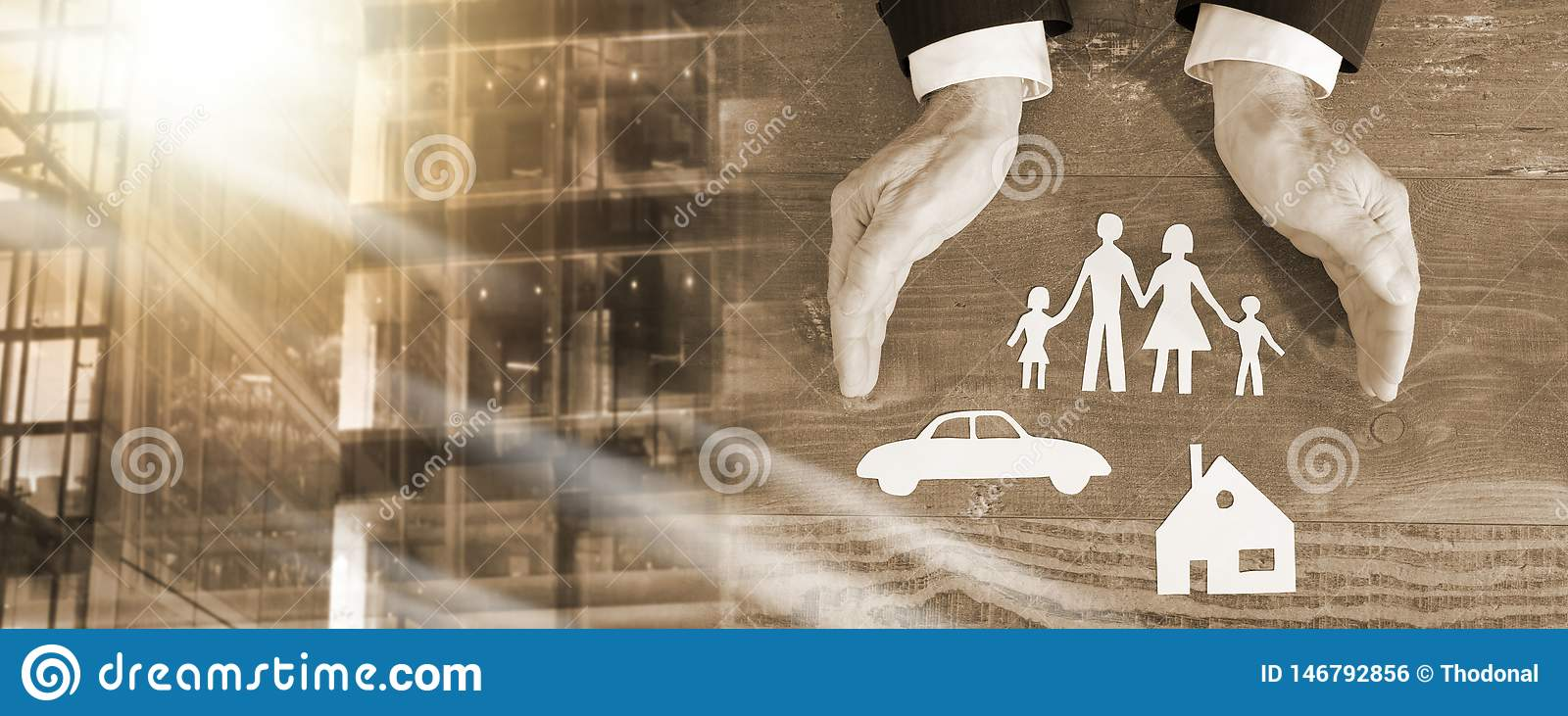 Family, house and car insurance concept; multiple exposure