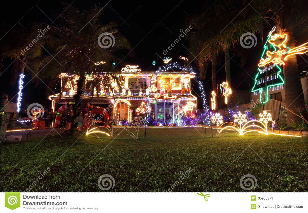 Family house decorated with christmas lights and for Australian decoration ideas