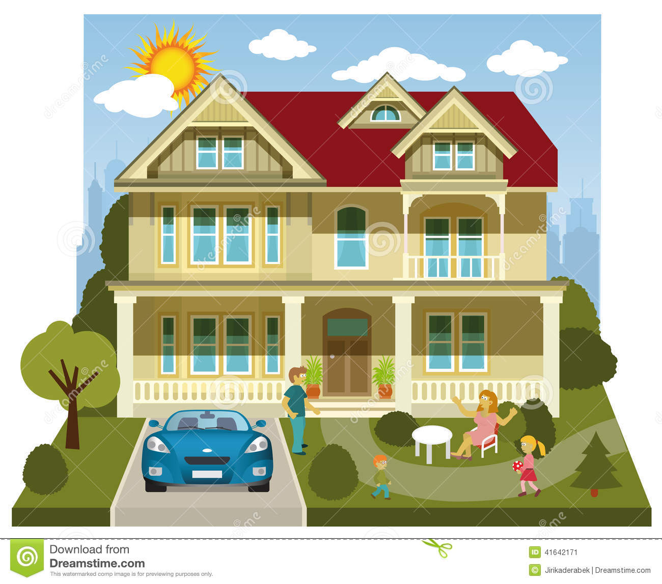 Family House Diorama Stock Vector Image Of Parks Real