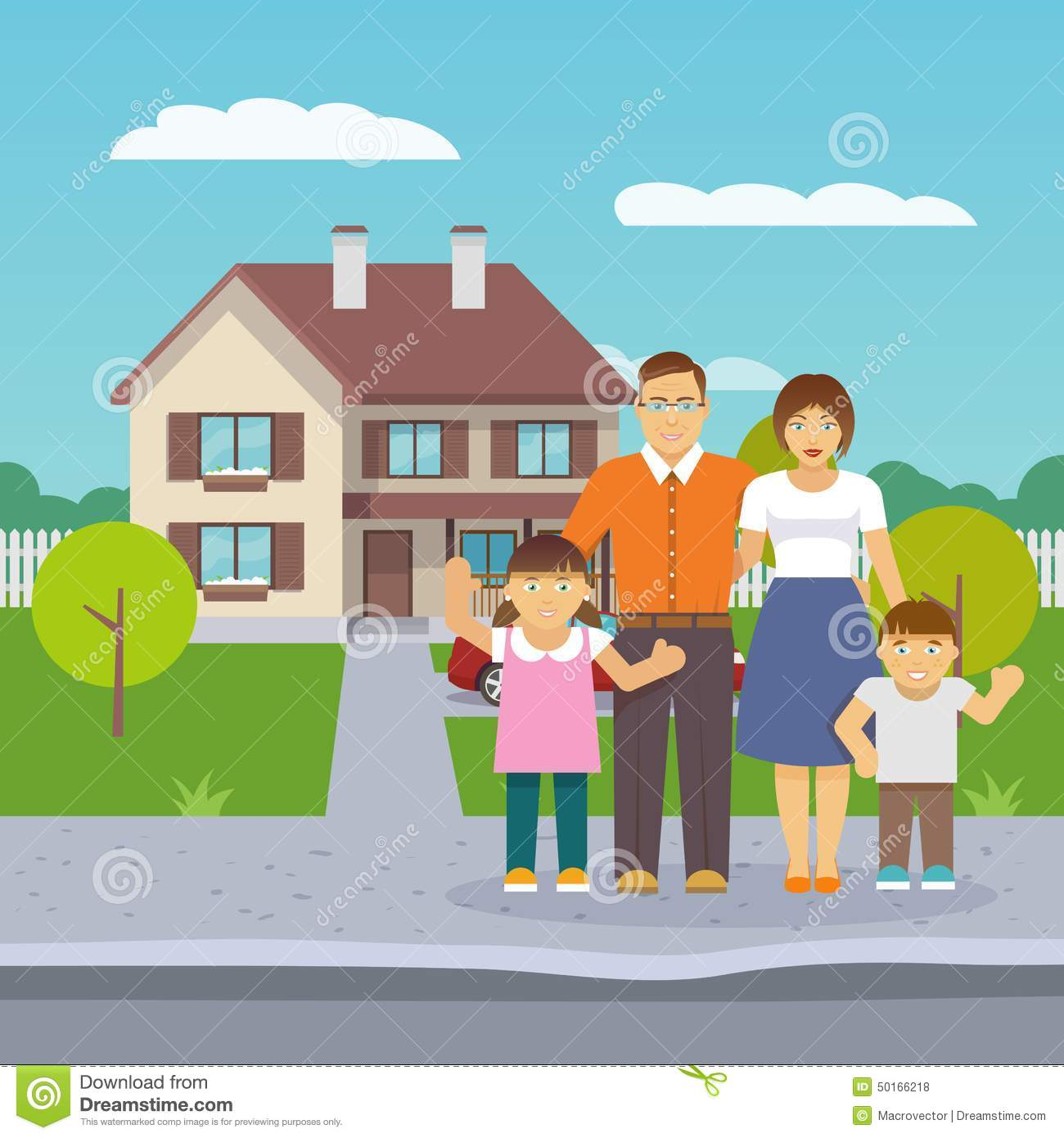 Family house flat stock vector illustration of daughter for Family in house
