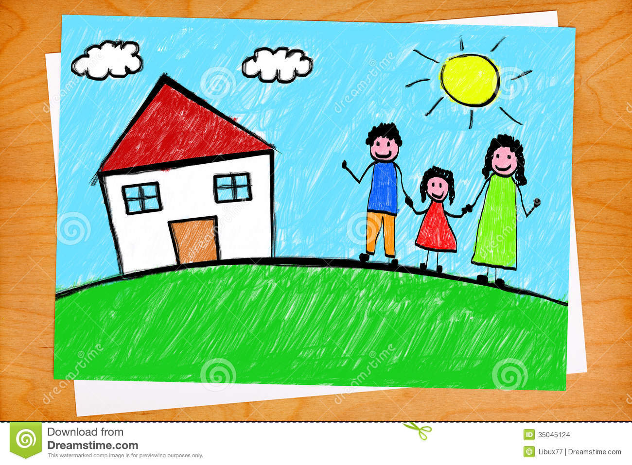 Family House Freehand Child Drawing On Desktop Stock ...