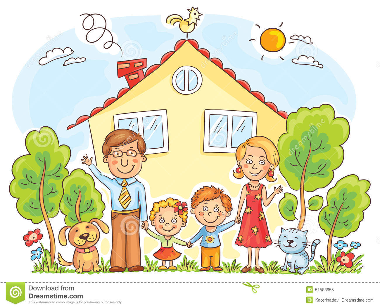 Family at the House stock vector. Illustration of happy ...