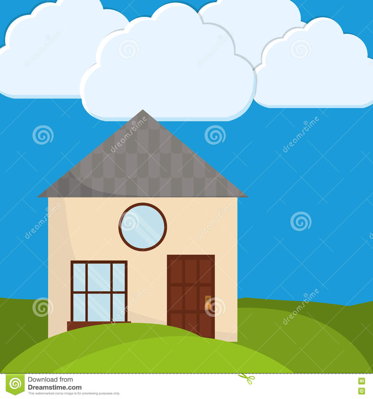 Family House Home Icon Landscape Illustration Graphic