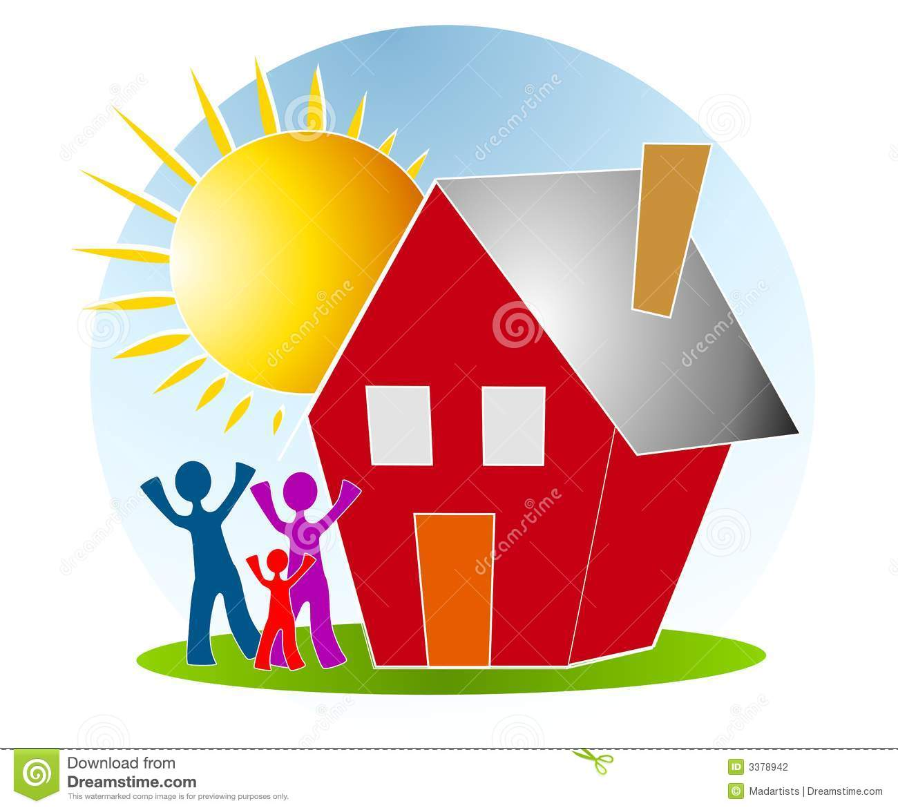 family with house sun clip art stock illustration illustration of rh dreamstime com new home clipart black and white new homeowner clipart