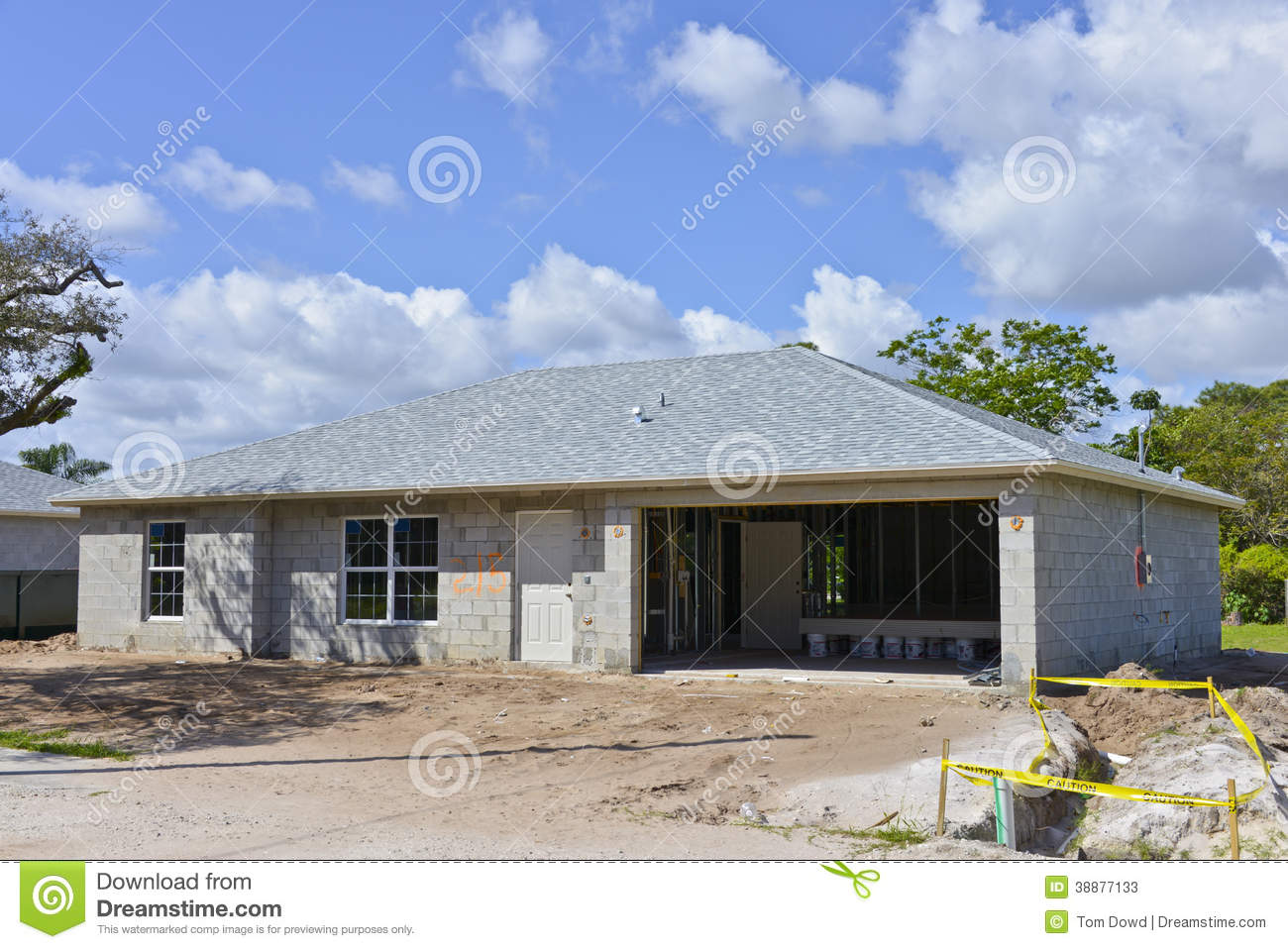 Family house under construction stock image image of for Small concrete block house plans