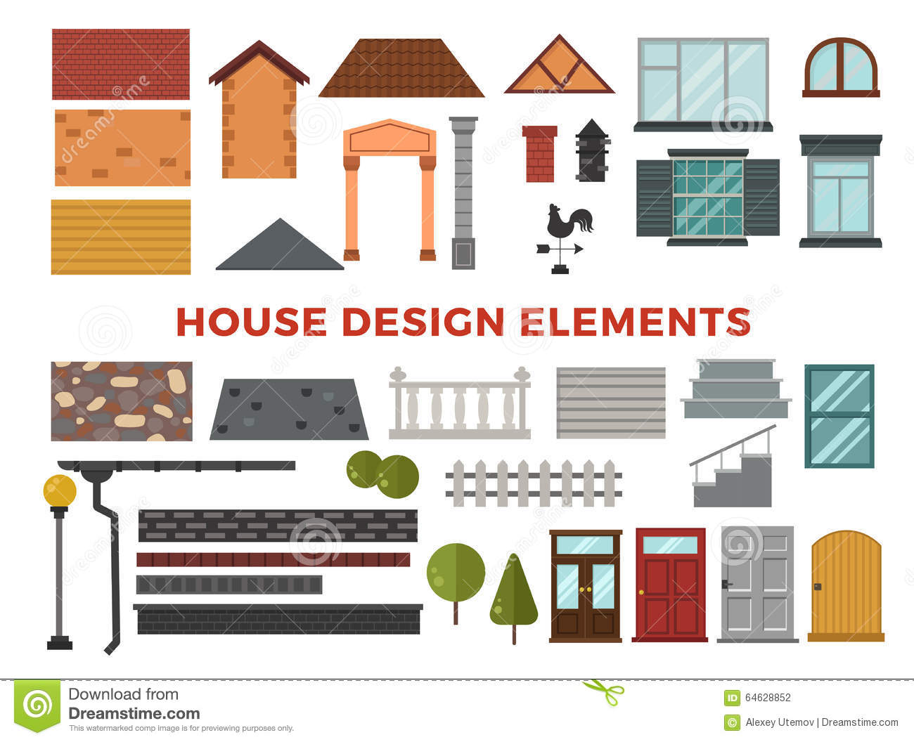 home design elements family house vector design stock vector image 64628852 12115