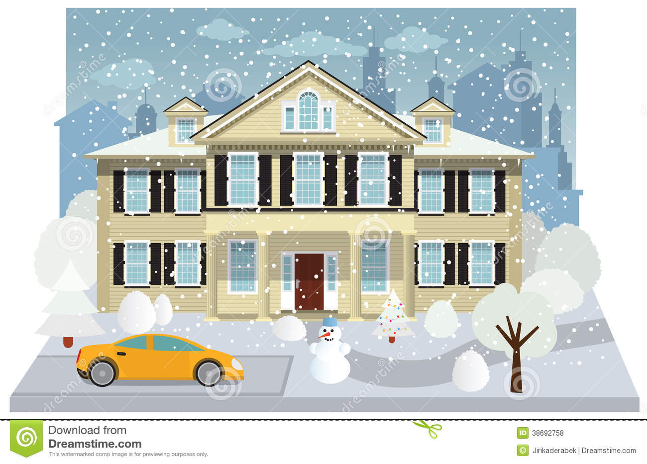 Family house in winter