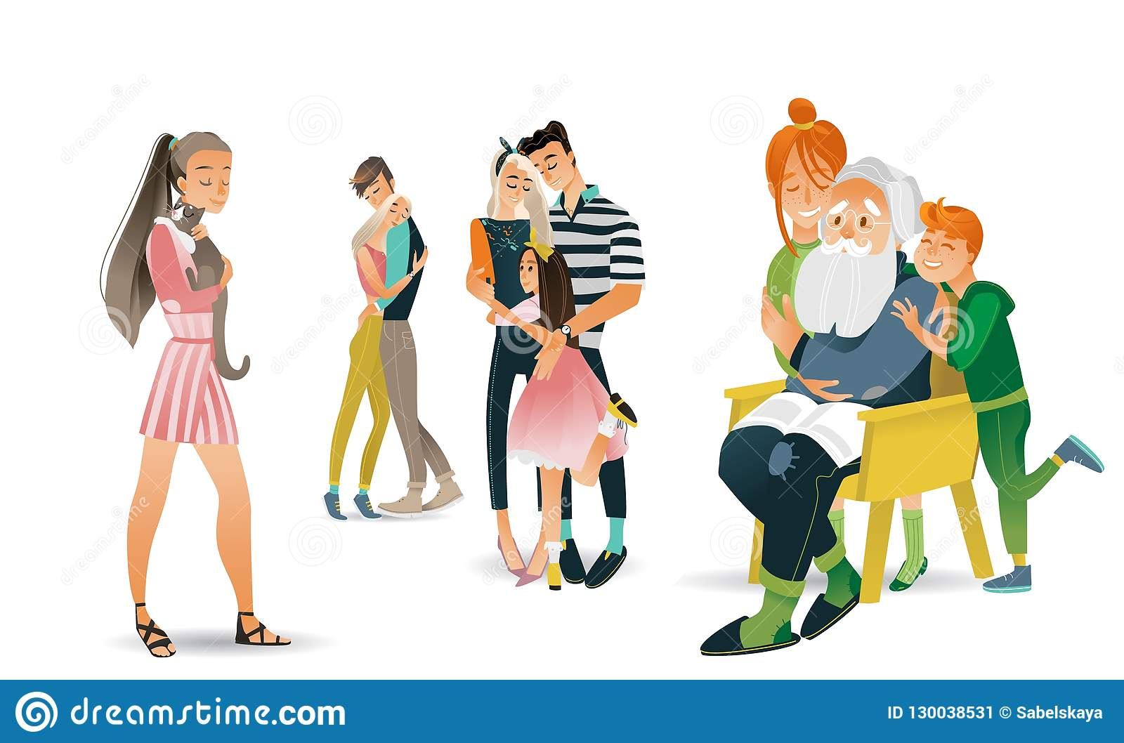 Family hug vector illustration set - various scenes with people embracing each other with love.