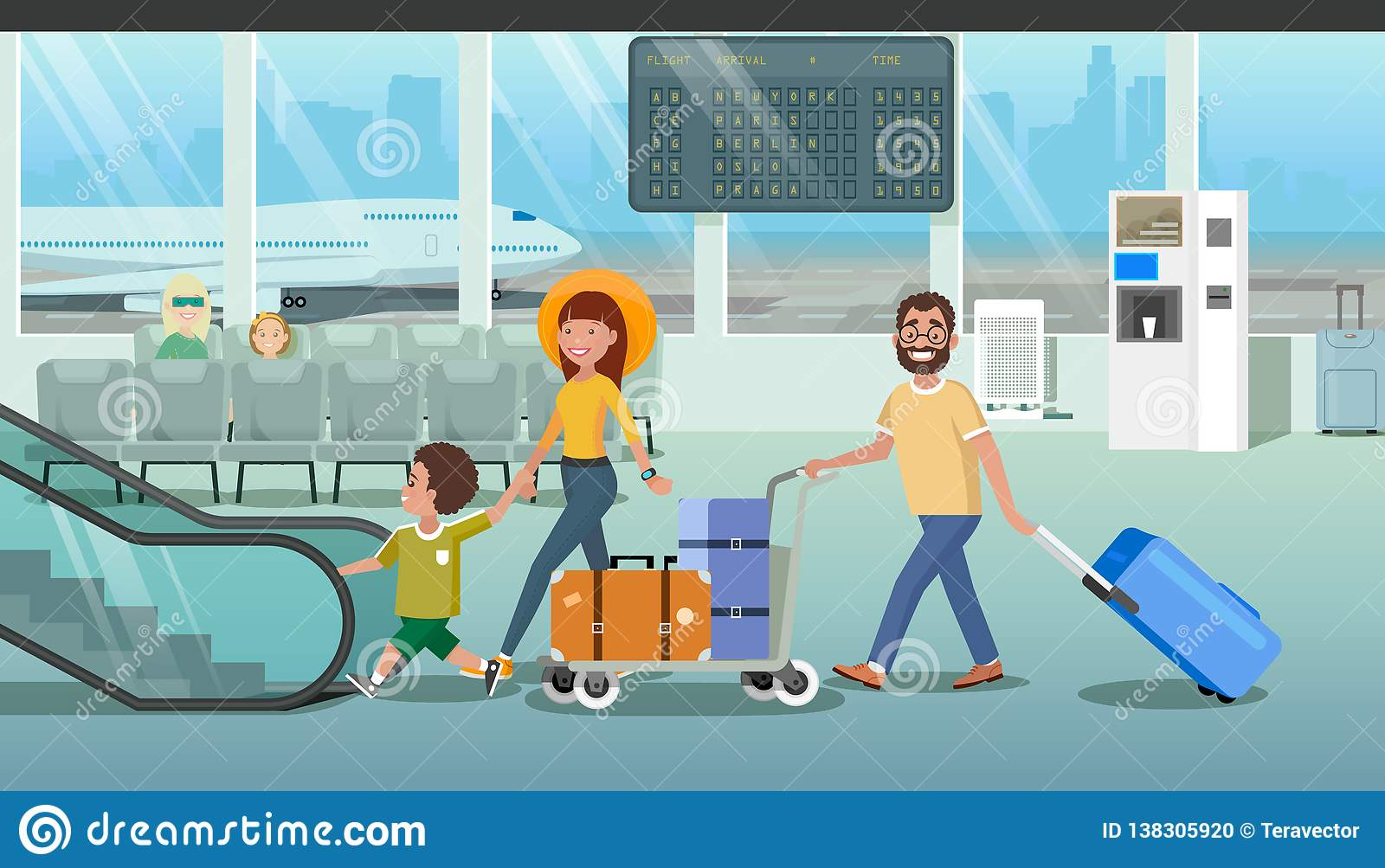 Family Hurrying To Board Plane In Airport Vector Stock Vector Illustration Of Leisure Business 138305920
