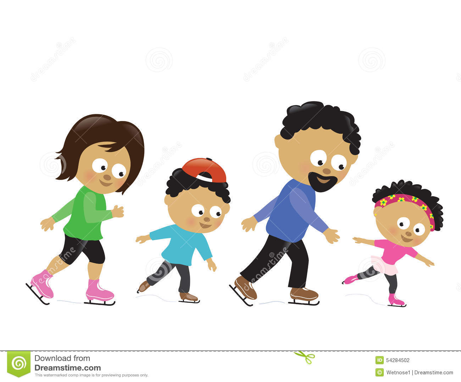 Family Ice Skating 2 Stock Illustration - Image: 54284502