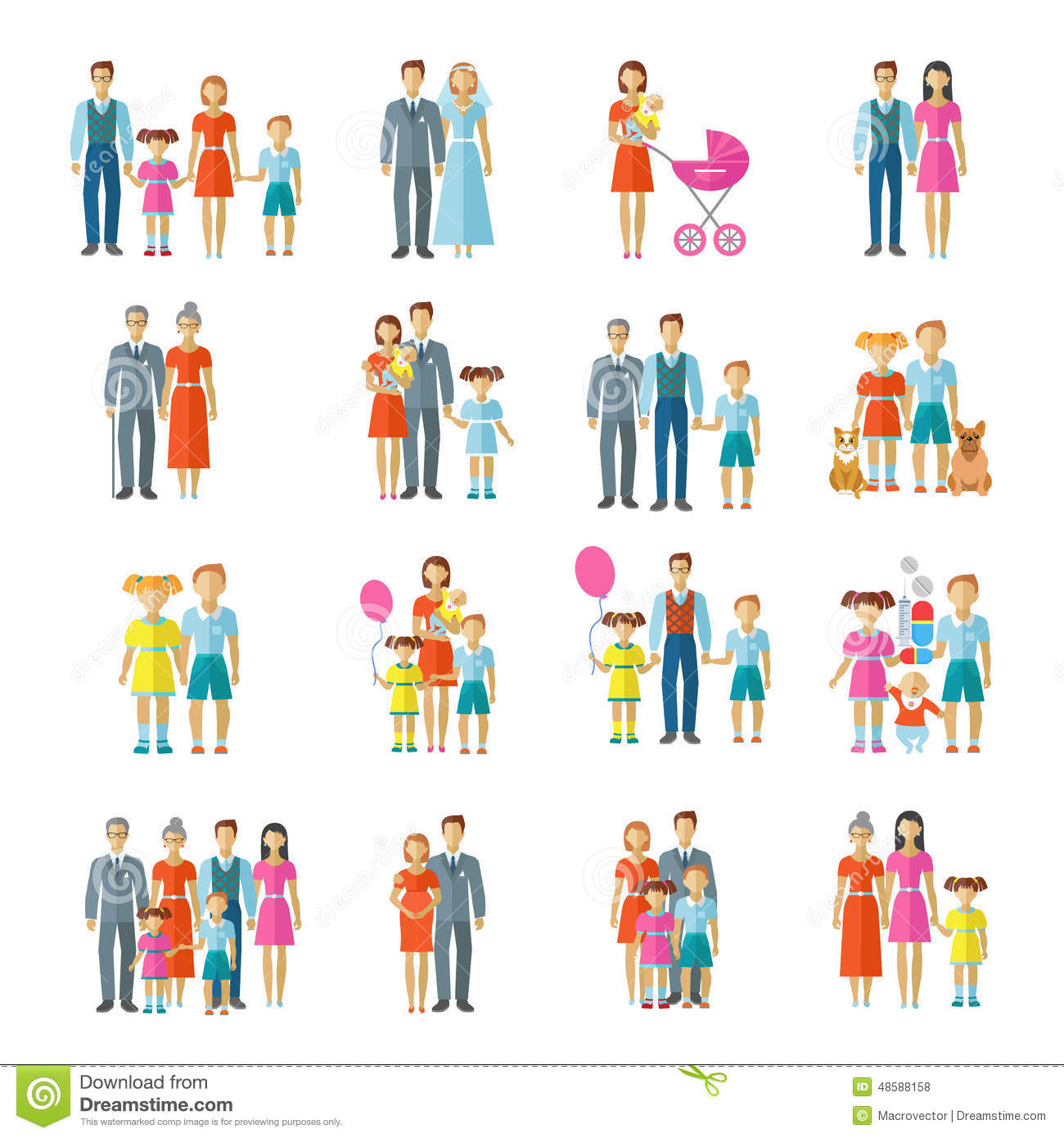 Family Icons Flat Stock Vector. Illustration Of Female