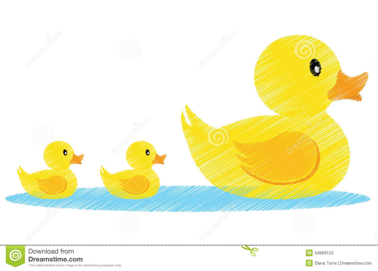 Illustration of a family of yellow ducks + vector eps file.
