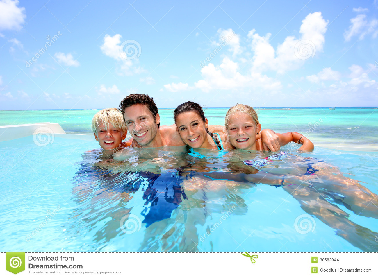Family in infinity pool stock images image 30582944 for Family swimming pool