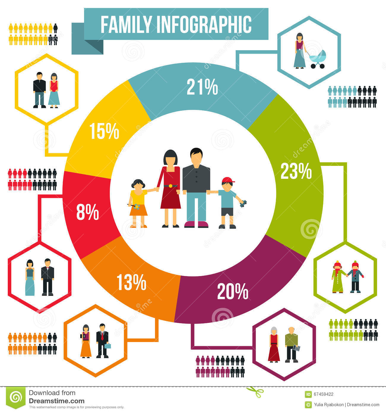 Family infographic flat stock vector. Illustration of ...