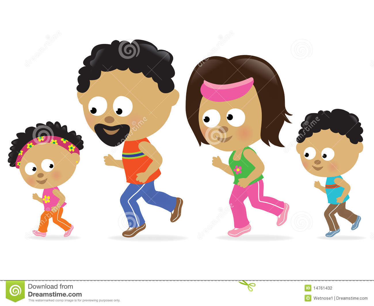 Family Jogging (African American) Stock Vector