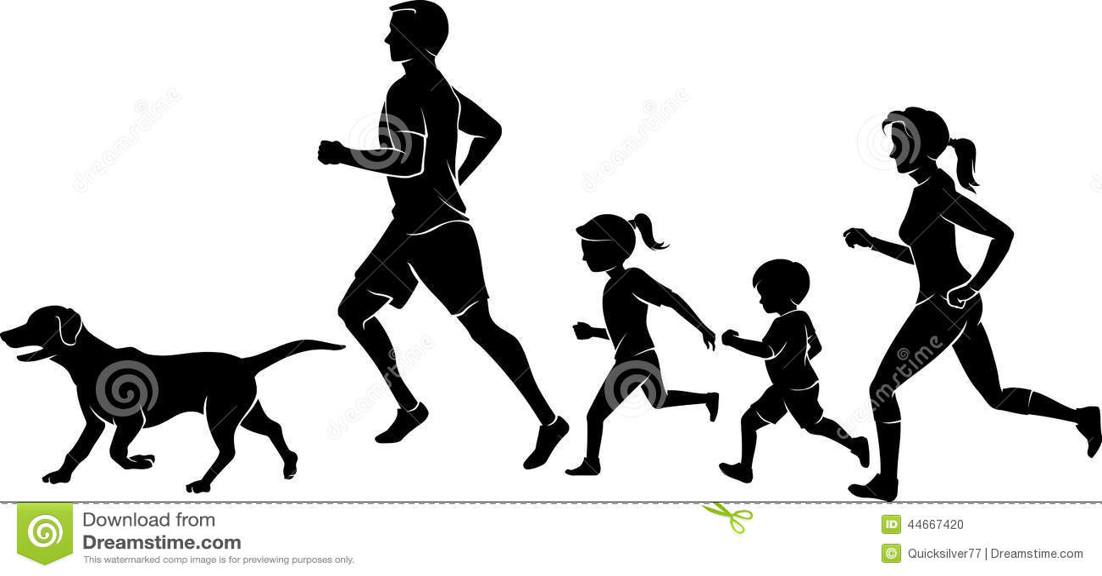 family jogging exercise stock illustration illustration of labrador rh dreamstime com