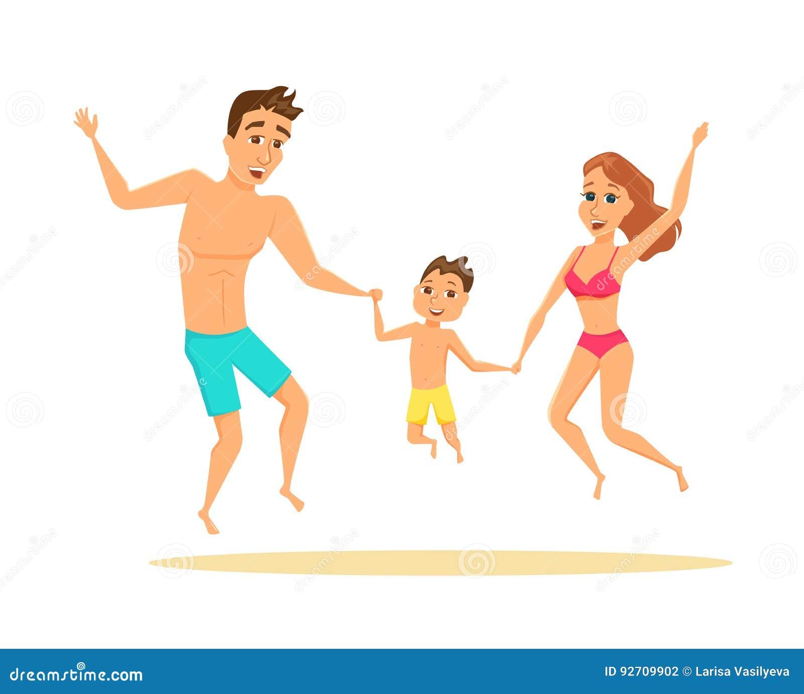 Couple Enjoying Their Summer Holidays Stock Photo: Family Jumping On The Beach Stock Vector