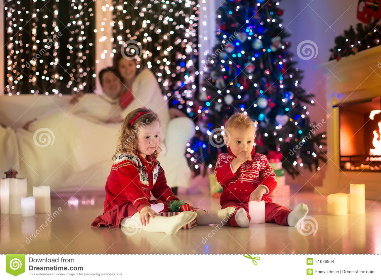 Family With Kids Celebrating Christmas At Home Stock Photo - Image ...