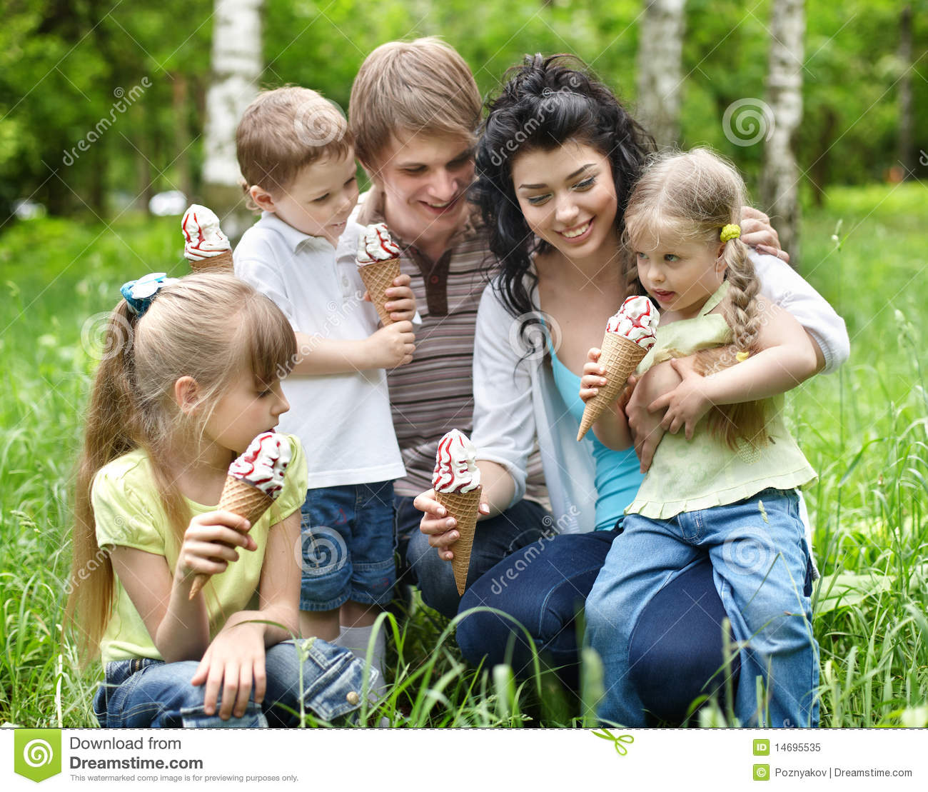 Family With Kids Eating Ice-cream. Stock Image - Image of ...