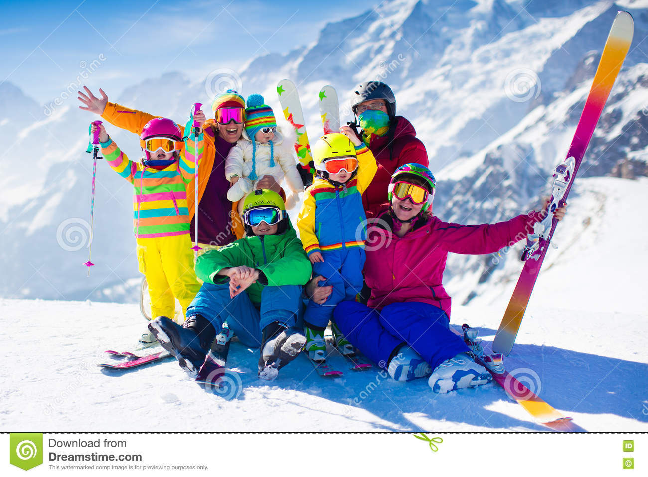 fa50a3cb4736 Family With Kids In The Mountains Stock Image - Image of gear