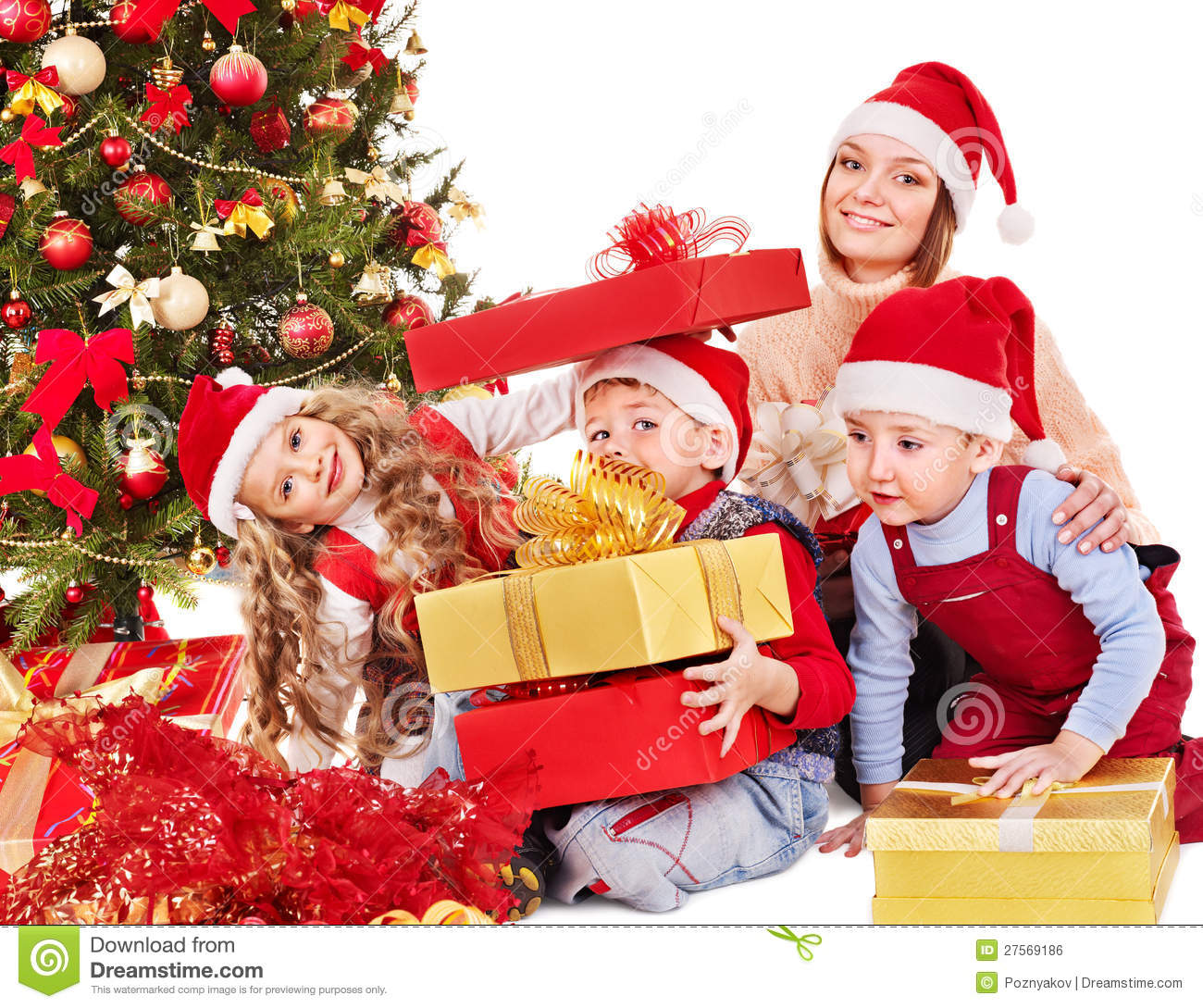 Family With Kids Open Christmas Gift Box. Stock Photo ...