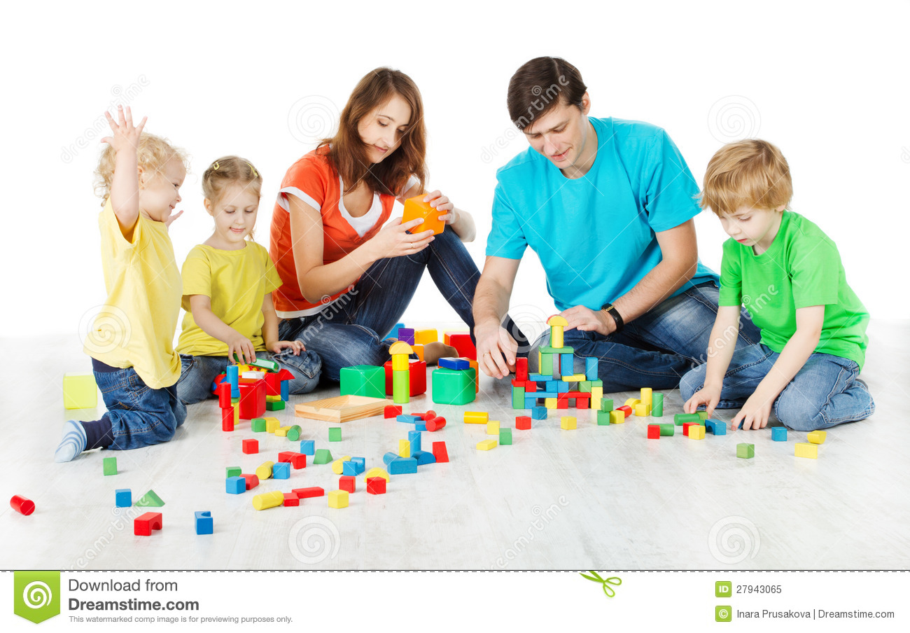 Family with kids playing toys blocks royalty free stock photo image 27943065 - Houses for families withchild ...