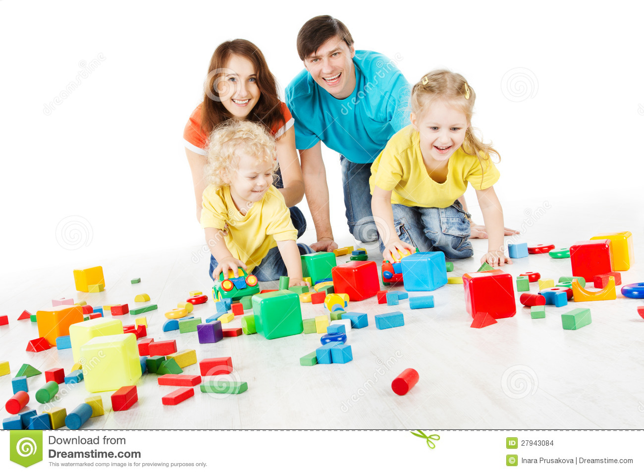 Family with kids playing toys blocks stock images image 27943084 - Houses for families withchild ...