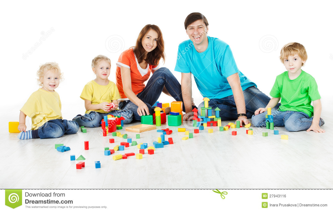 Family with kids playing toys blocks stock photo image 27943116 - Houses for families withchild ...