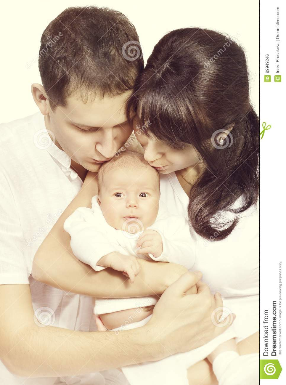 Family Kiss Newborn Baby, Mother and Father Kissing New Born Chi