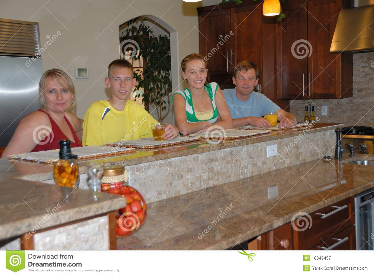 Download Family in kitchen stock image. Image of warm, granite - 10049457