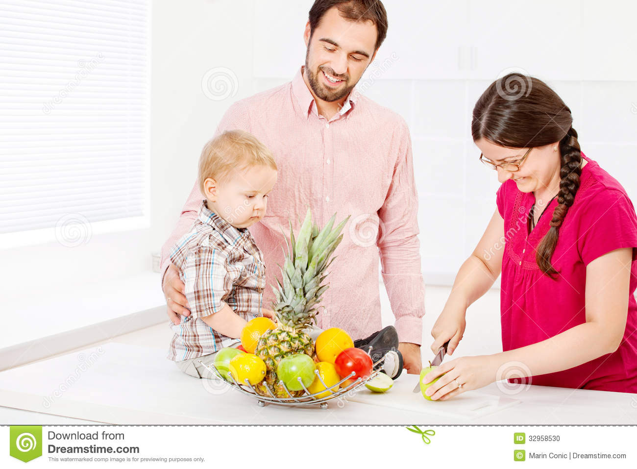 Family In Kitchen Stock Photo Image 32958530