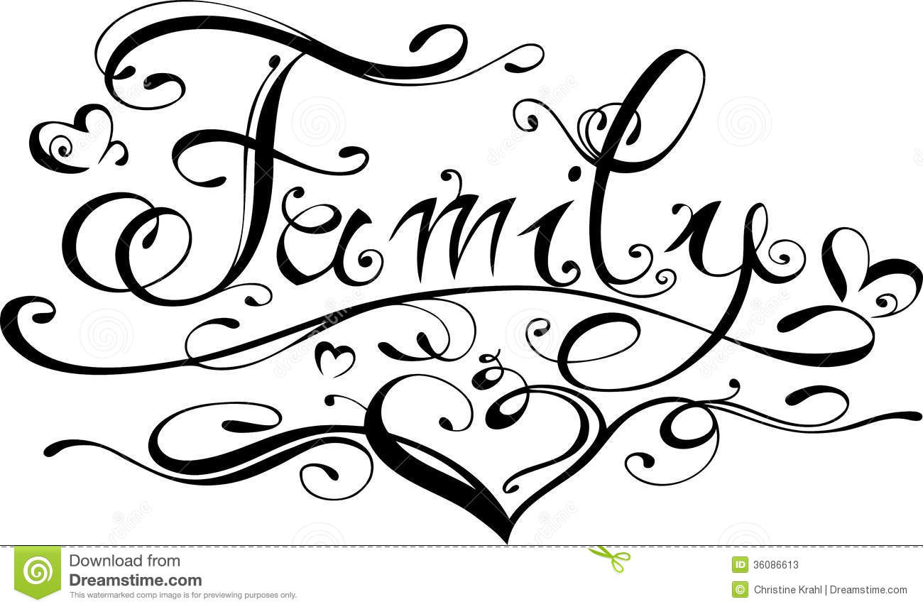 family lettering stock photos