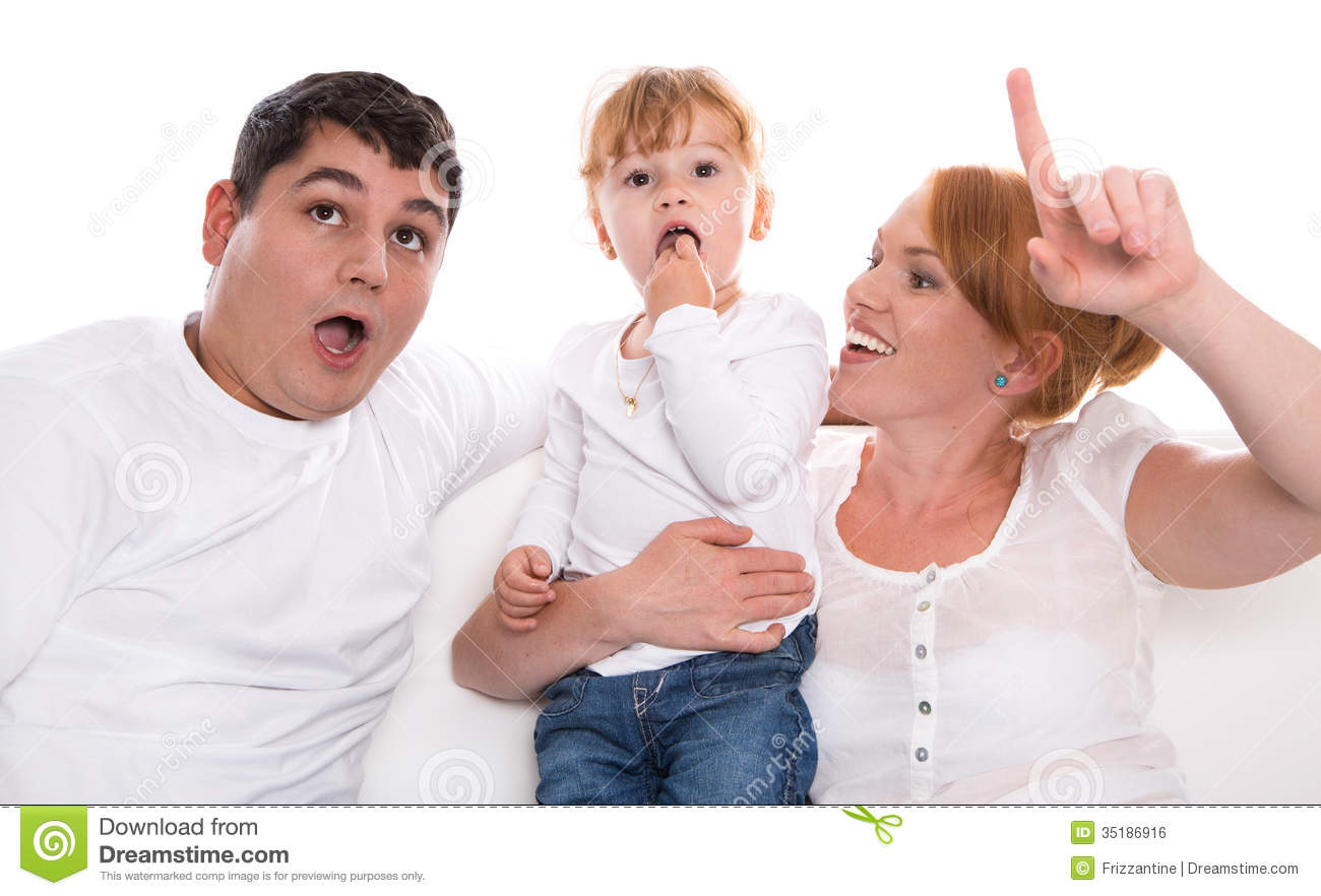 Family Life Fun Parents And Child On White Background