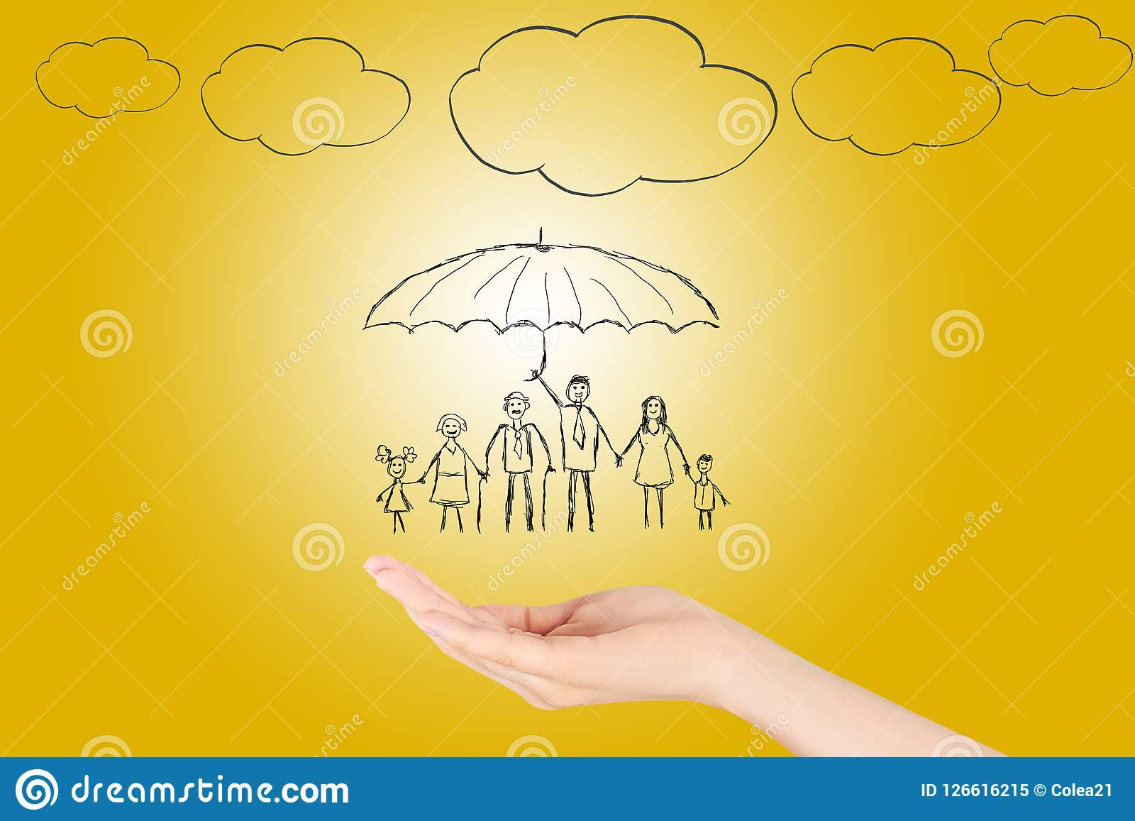 Family life insurance, protecting family, family concepts.