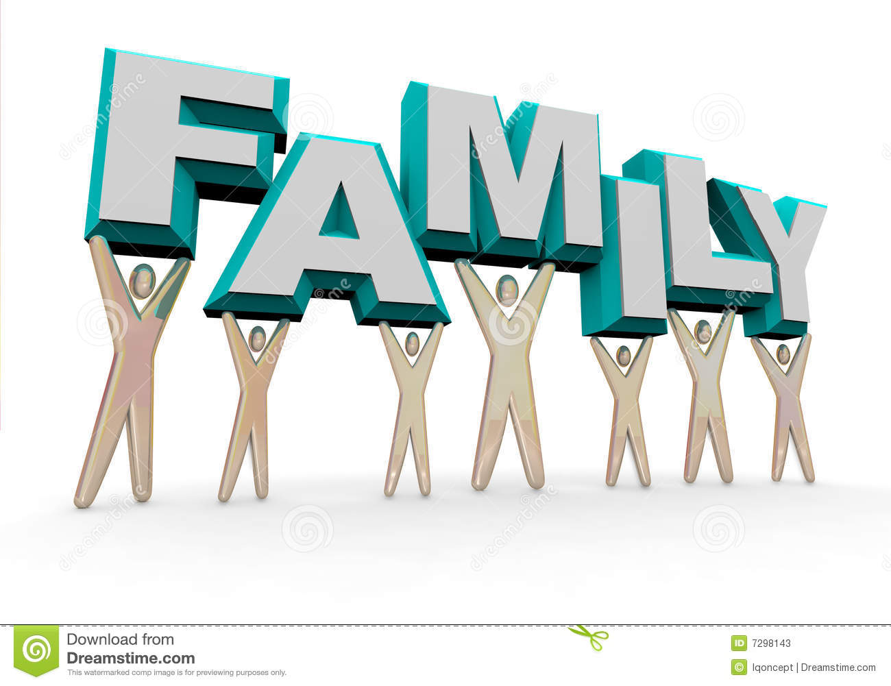 Family Lifting The Word Stock Photos Image 7298143